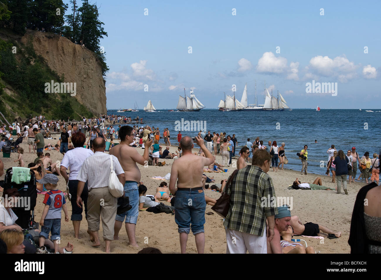 Photographs from Tall Ships Races 2009 beginning parade in Gdynia, Orlowo. A lots of people were watching at beautiful - Stock Image