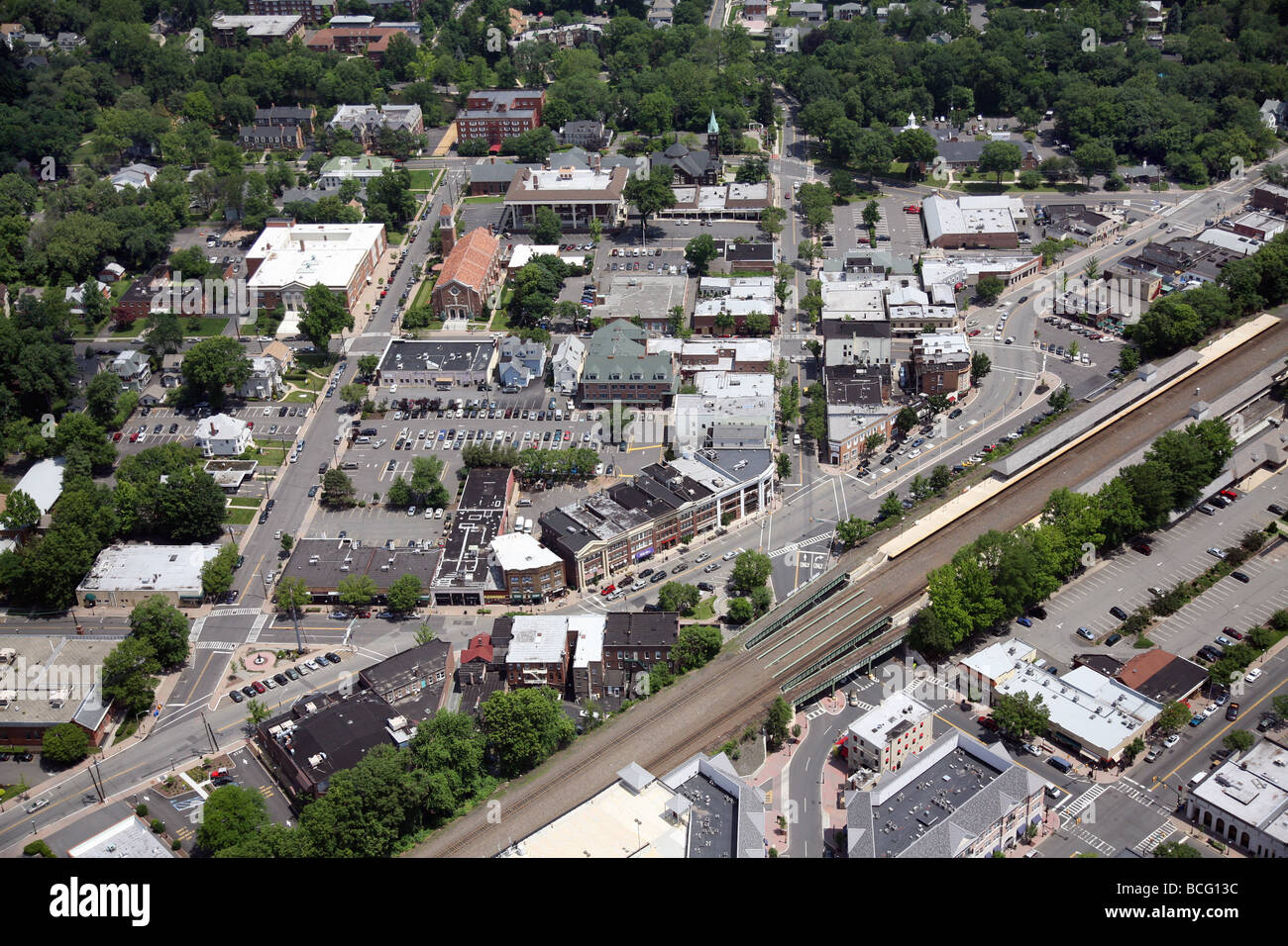 Aerial photo of Cranford, New Jersey. Union County USA United States America - Stock Image
