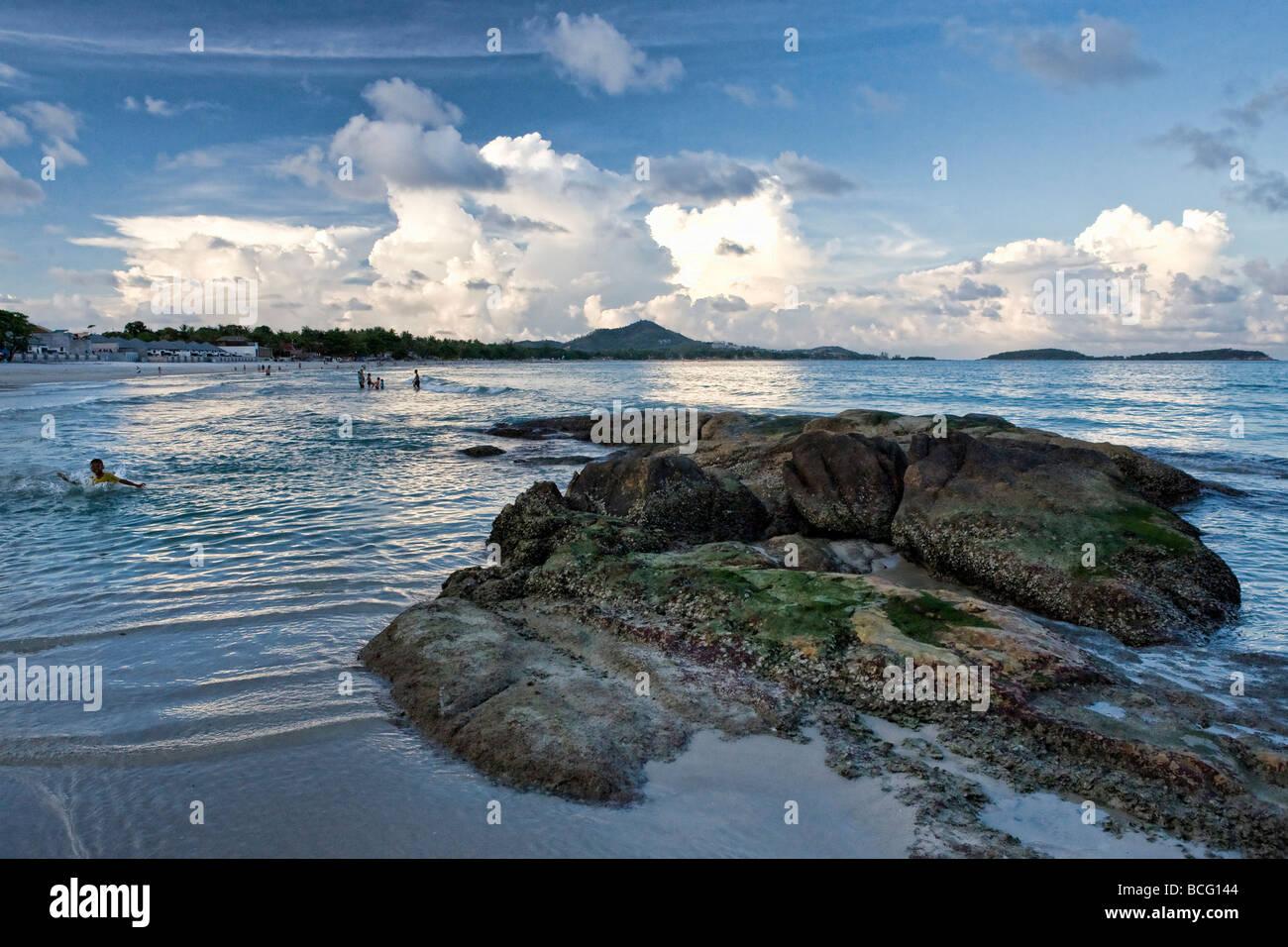 Chaweng Beach on Koh Samui at dusk Stock Photo