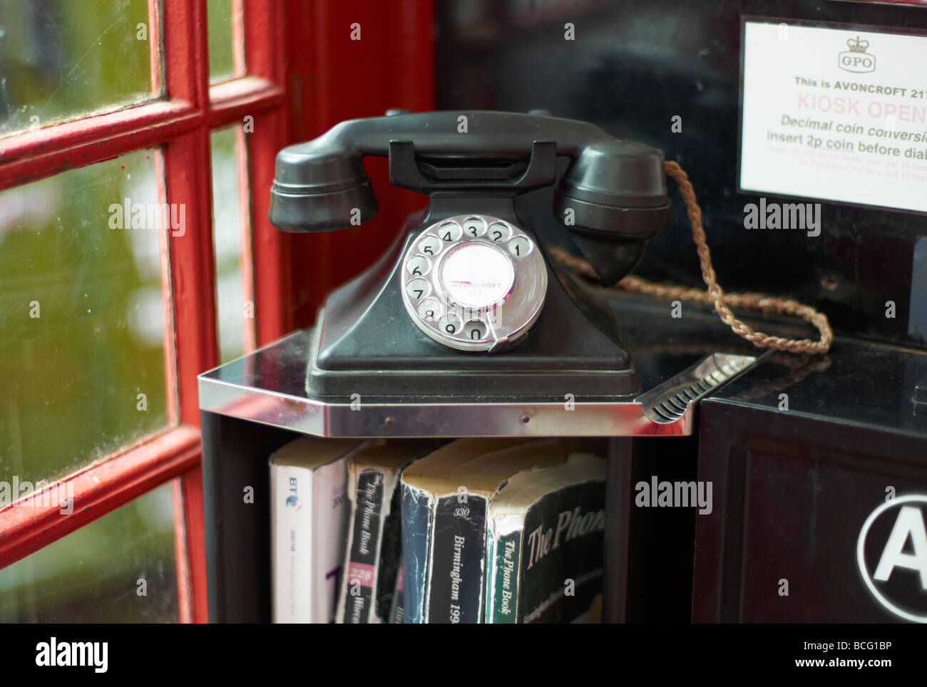 Avoncroft buildings museum bromsgrove worcestershire collection of vinatge telephone boxes - Stock Image
