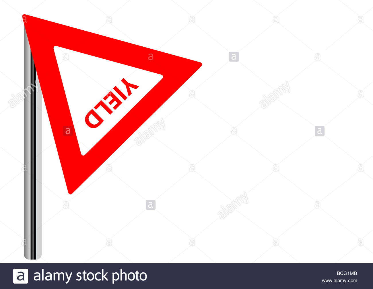 Yield sign yielded - Stock Image