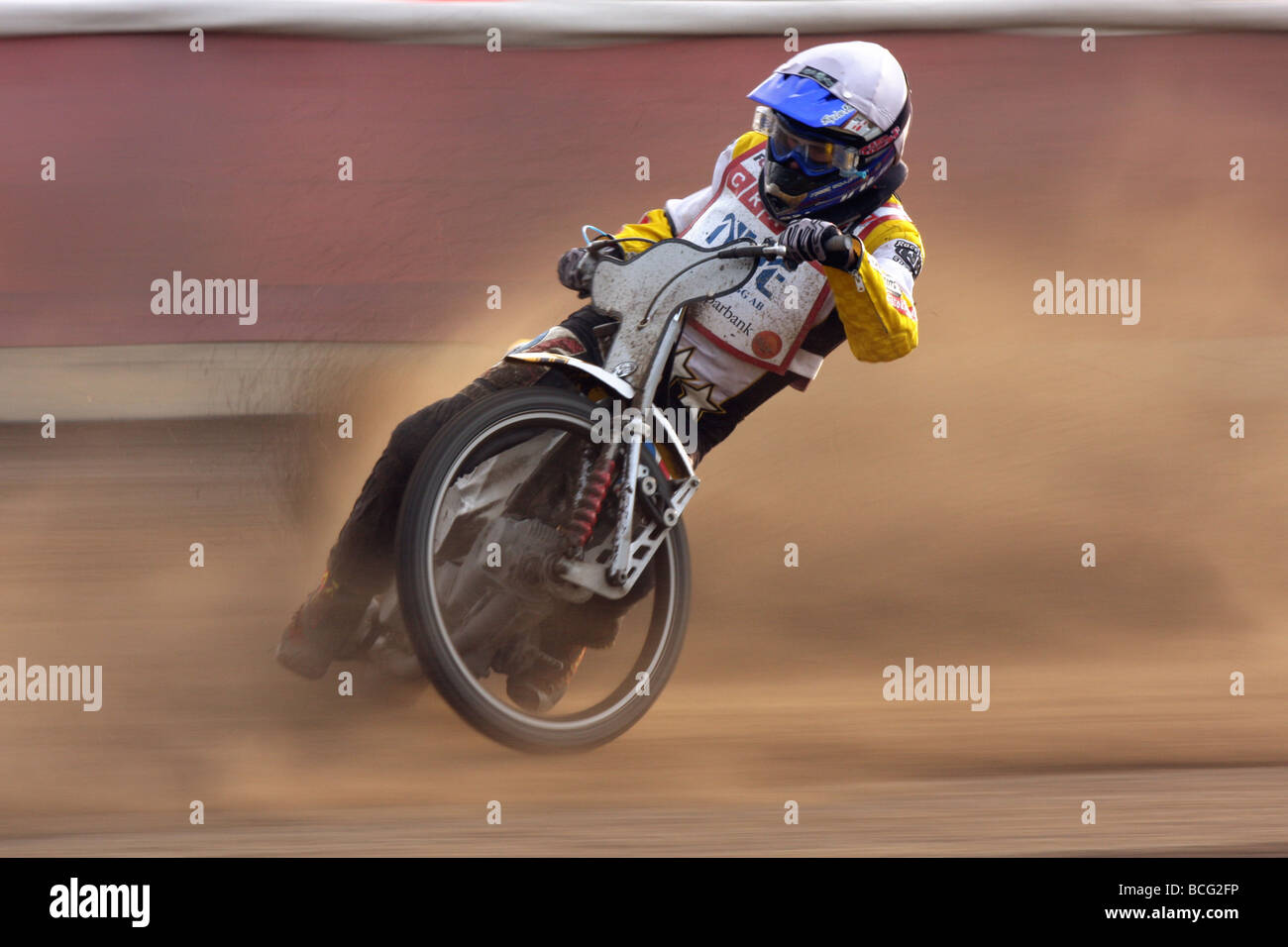 Speedway racing at Svansta race track in Nyköping, Sweden. Team Griparna. - Stock Image