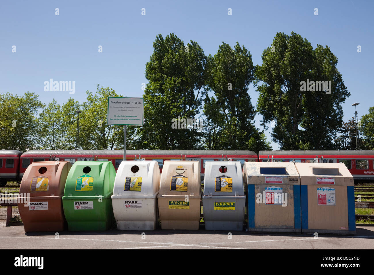 Paper aluminium and glass recycling bins. Germany Europe Stock Photo