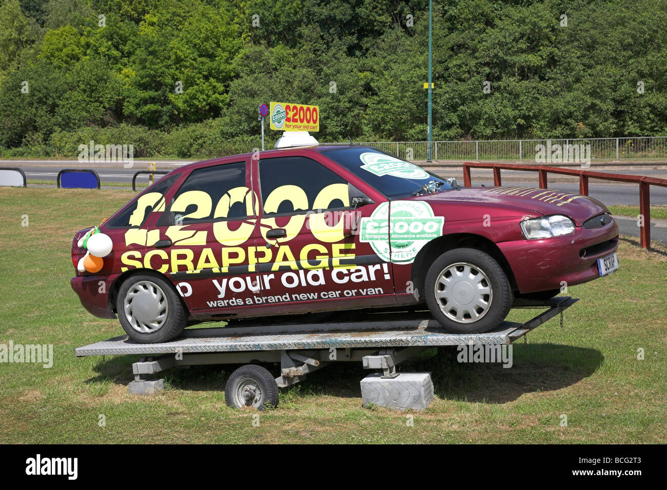 An old car used to advertise the government\'s scrappage scheme Stock ...