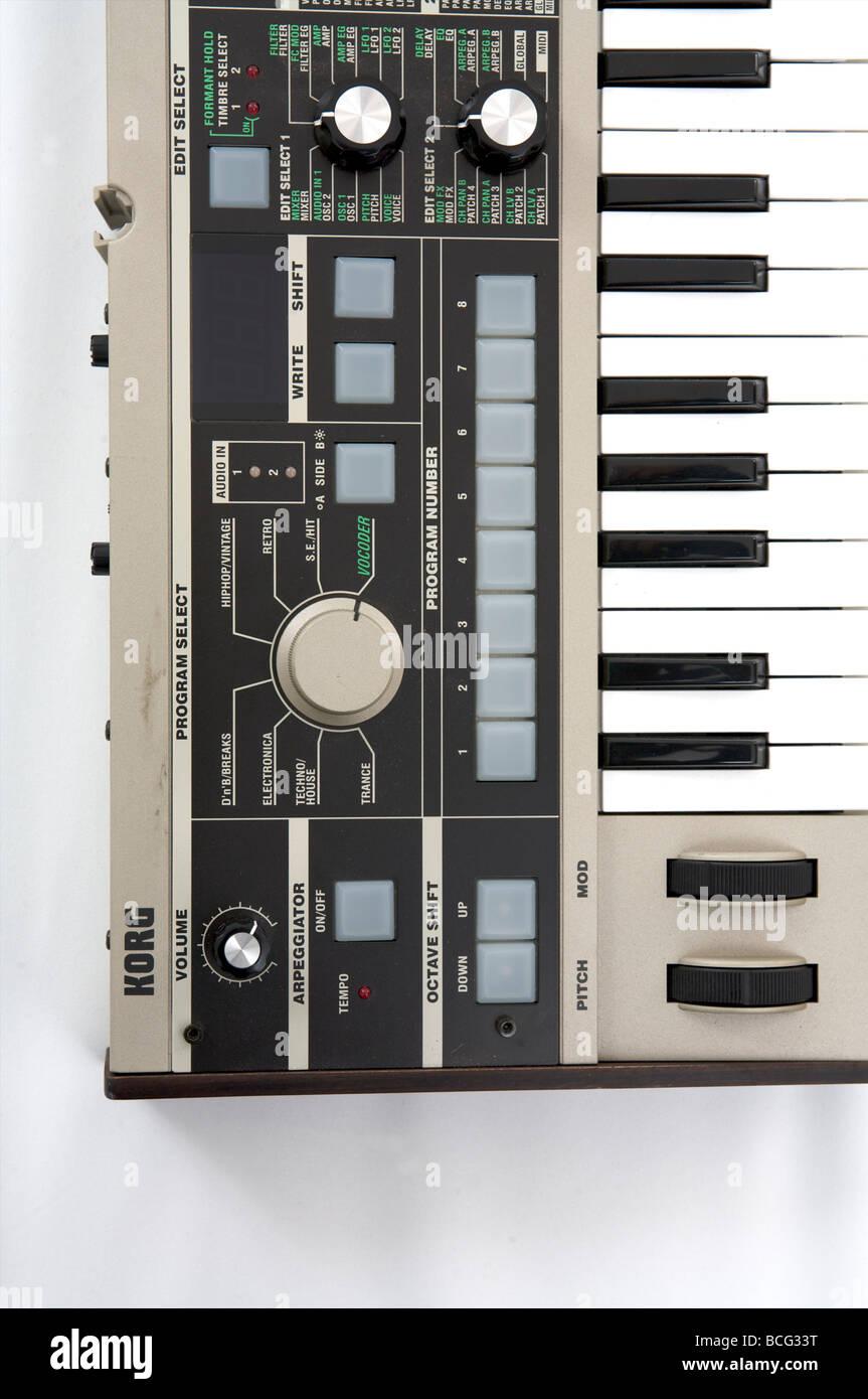 Korg micro korg synthesizer on white - Stock Image