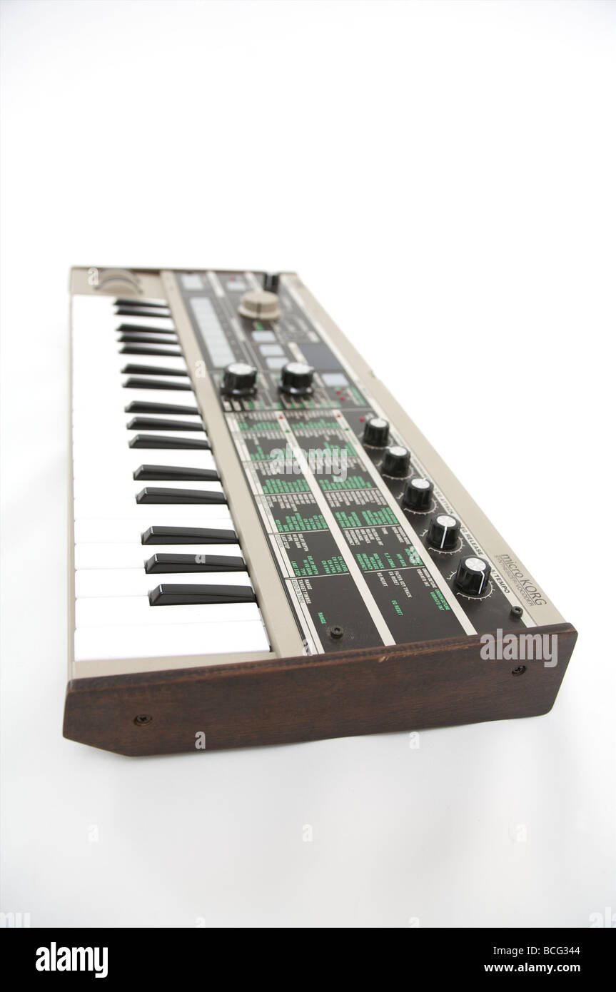 Korg micro korg synthesizer on white - Stock Image