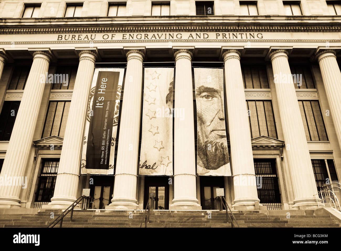 Bureau of engraving and printing washington dc usa stock photo