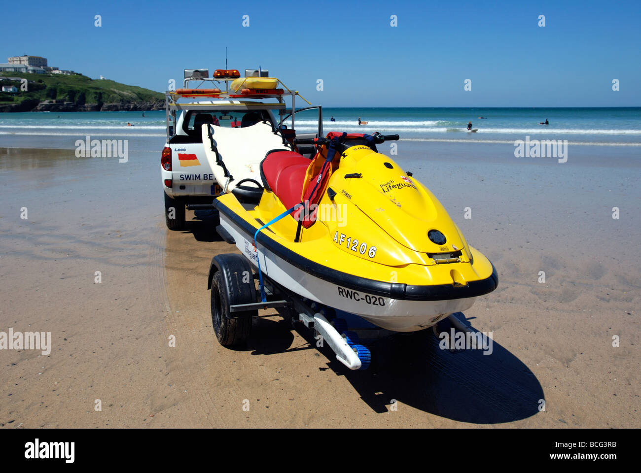 one of the jet ski sea scooters that the RNLI lifeguards use for rescues at newquay in cornwall uk - Stock Image