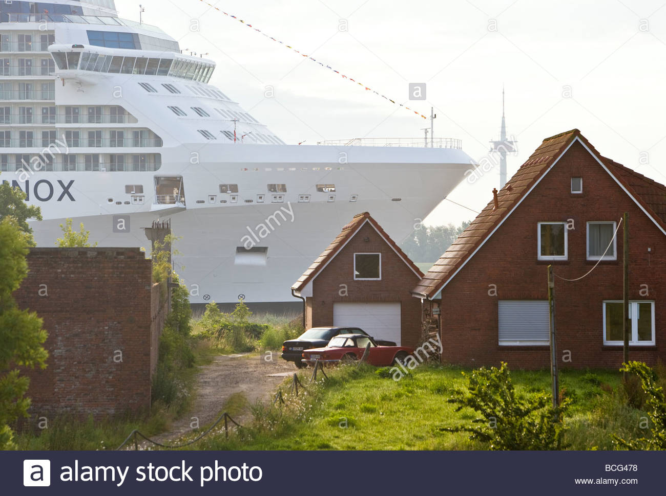 Huge Luxury Cruise Ship Towage Rural Brick House Backyard River Bank  Papenburg Ems River East Frisia Lower Saxony Germany Europe