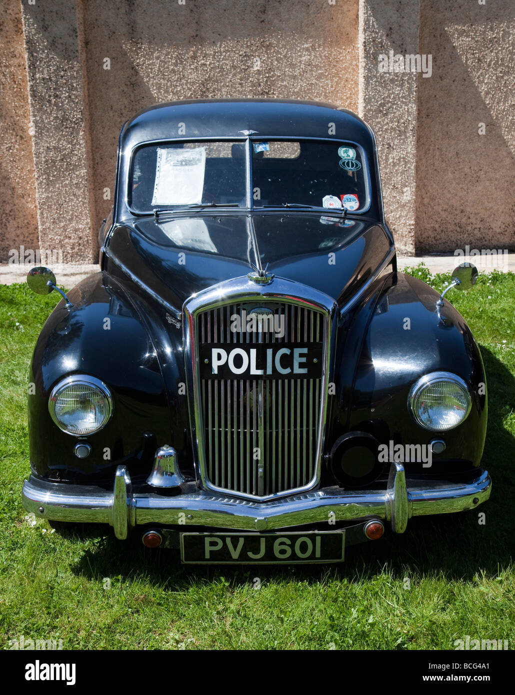 Old Wolseley black police car at rally Wales UK Stock Photo ...