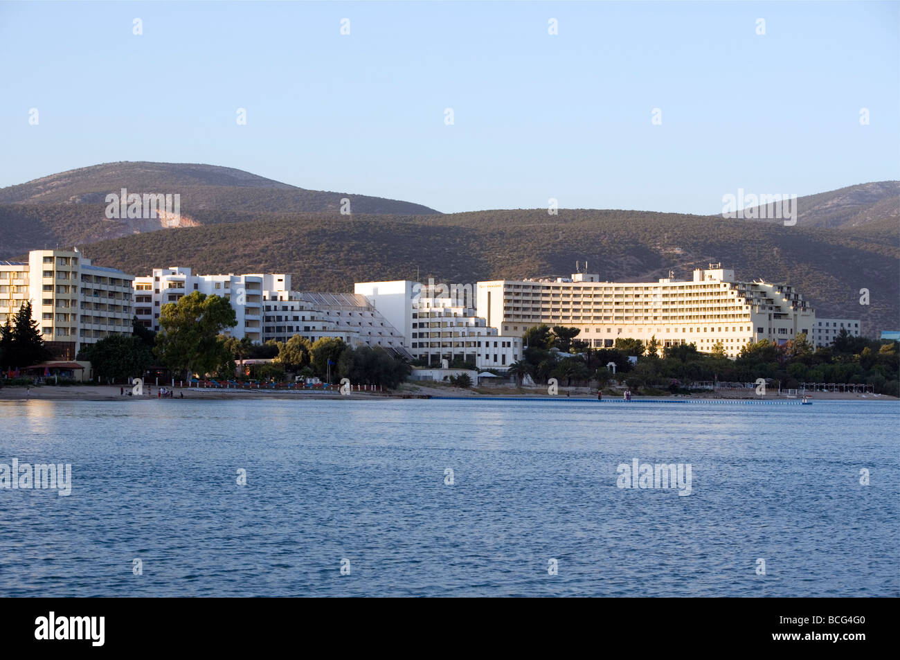 Popular large hotel watefront complexes - Akbuk,  Didim, Turkey, Asia Minor, Eurasia - Stock Image