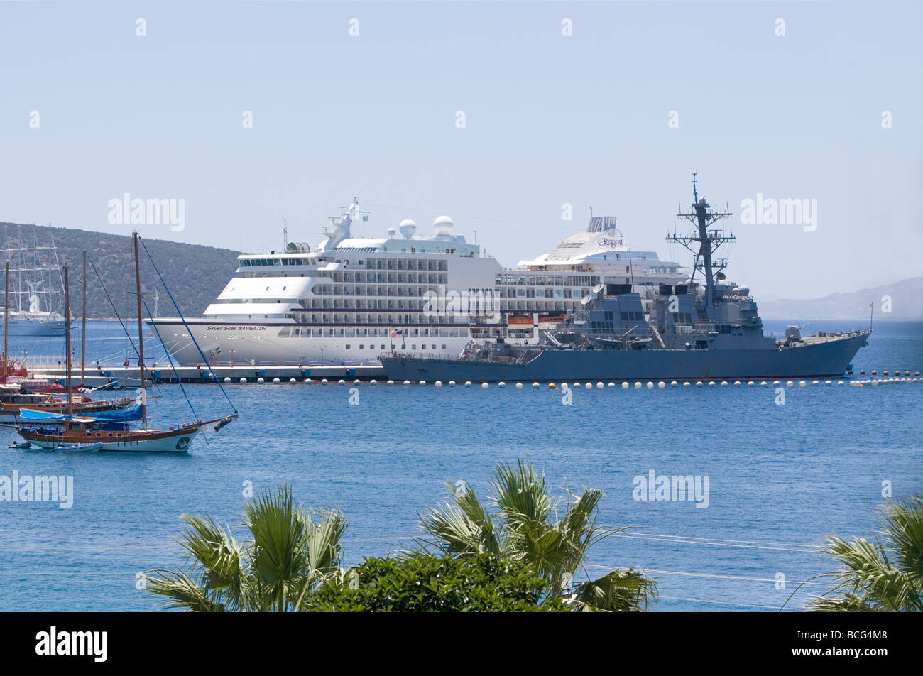 Variety of ships in harbour - Bodrum, Turkey., Asia Minor, Eurasia - Stock Image