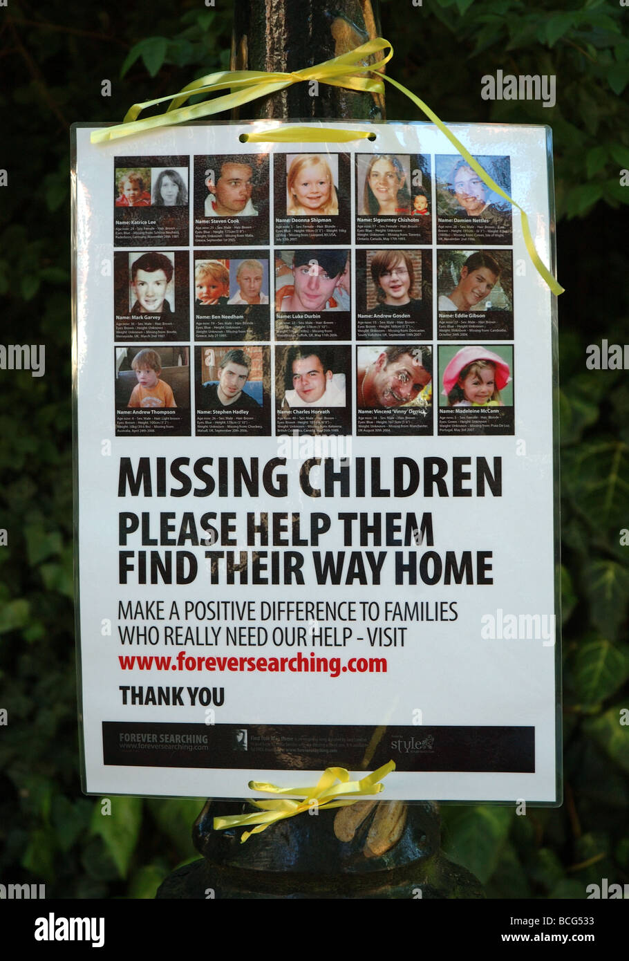 missing children poster, England, UK Stock Photo