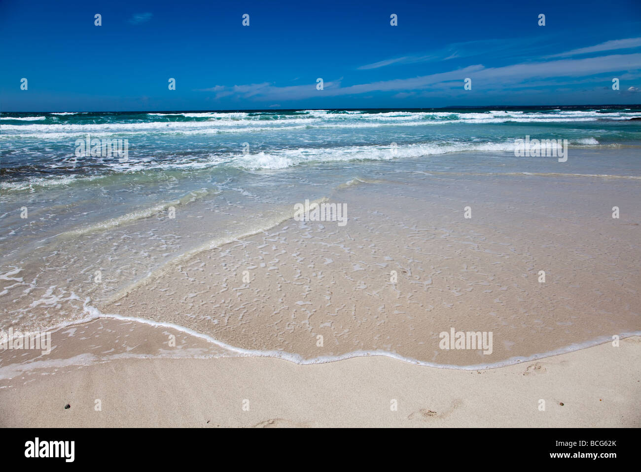 Waves and shallows on beach Platja des Trenc Mallorca Spain Stock Photo