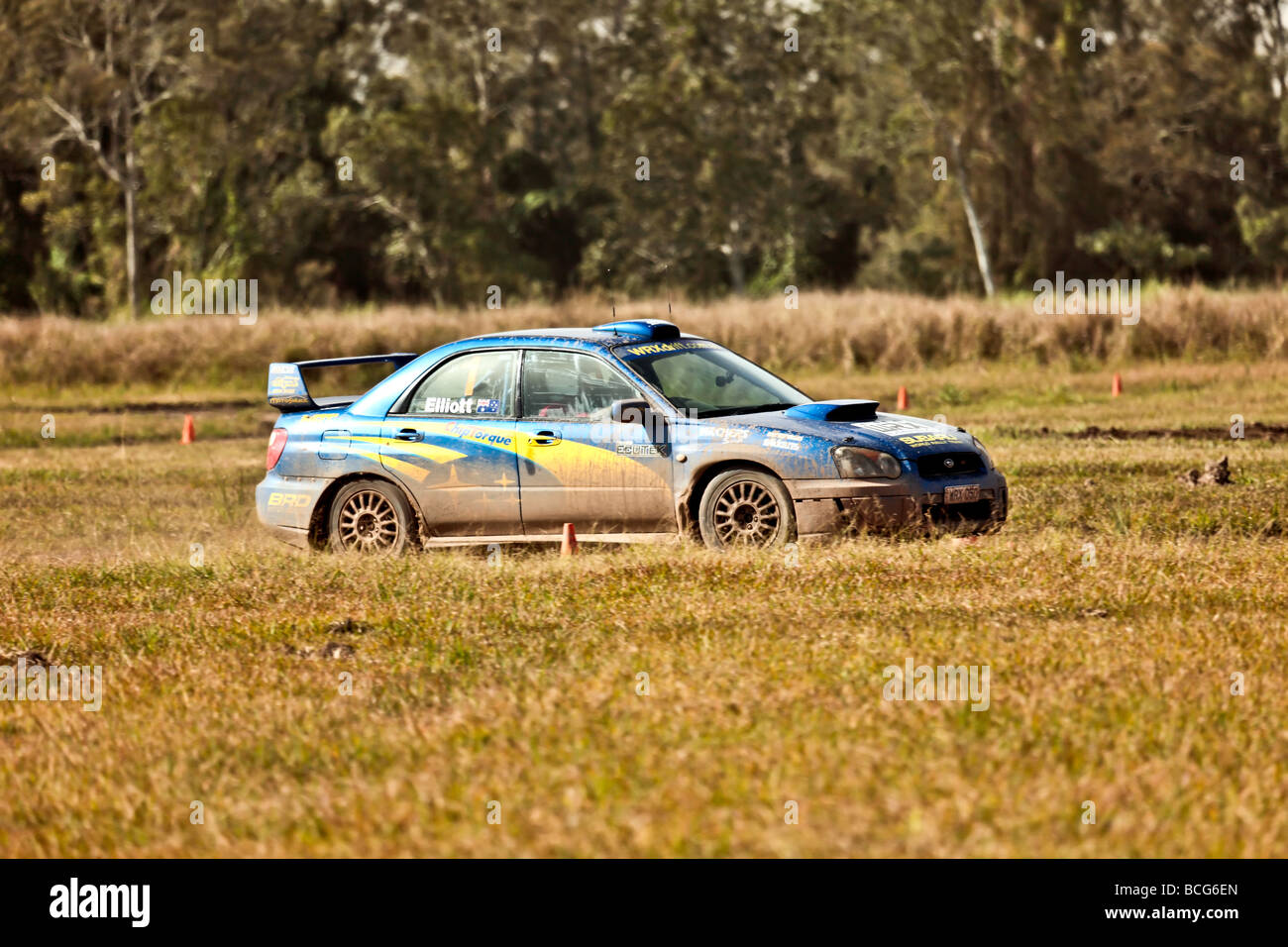 Subaru WRX rally car doing circuits on a dirt track Stock Photo ...