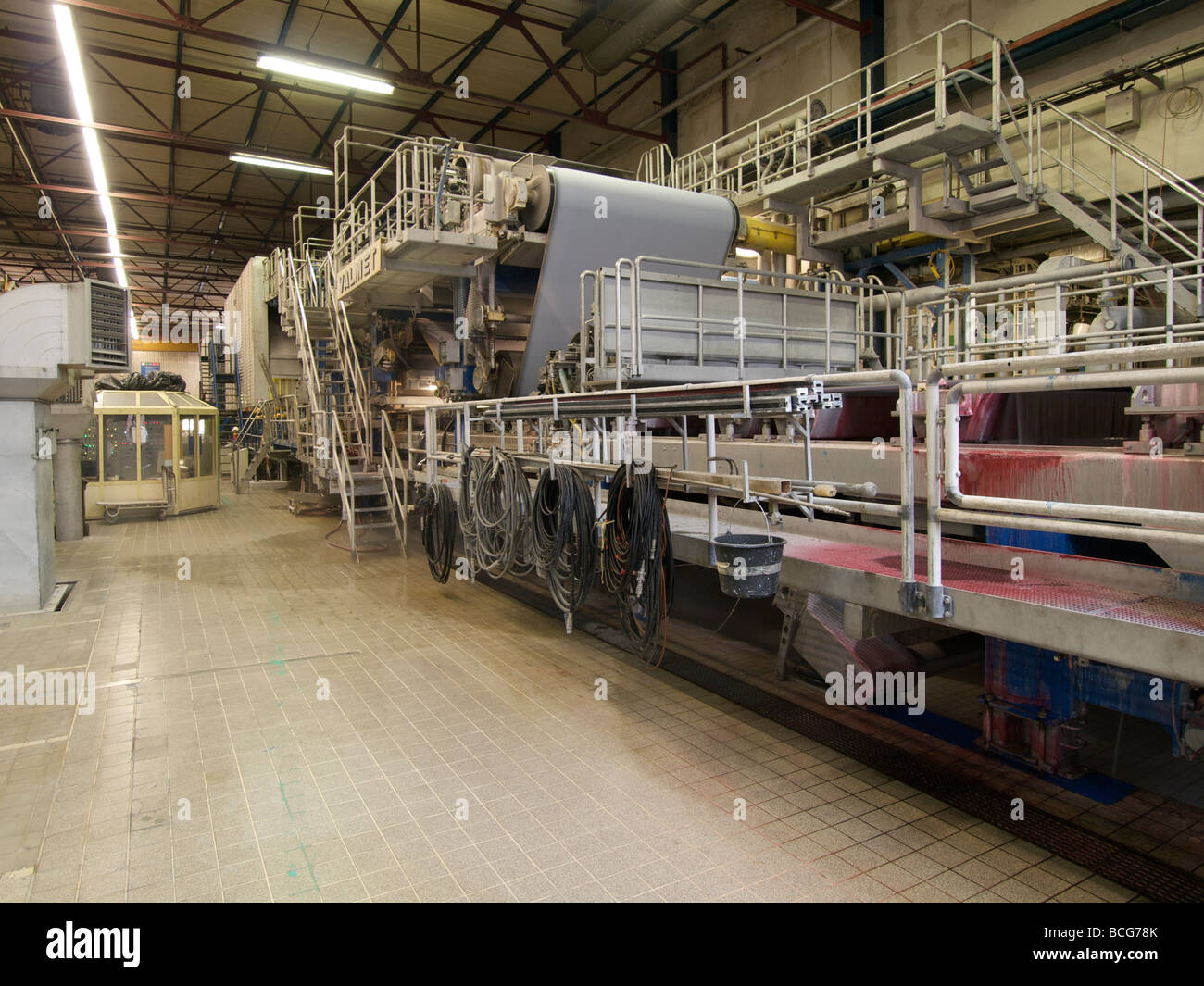 Large paper making machine made by Valmet - Stock Image