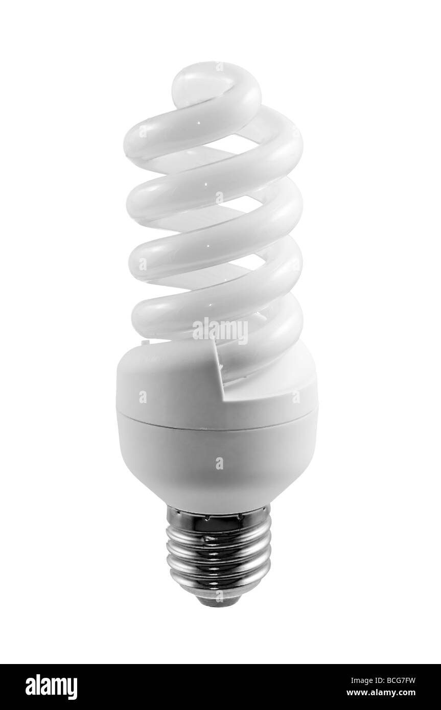 Fluorescent light bulb on white with clipping path - Stock Image