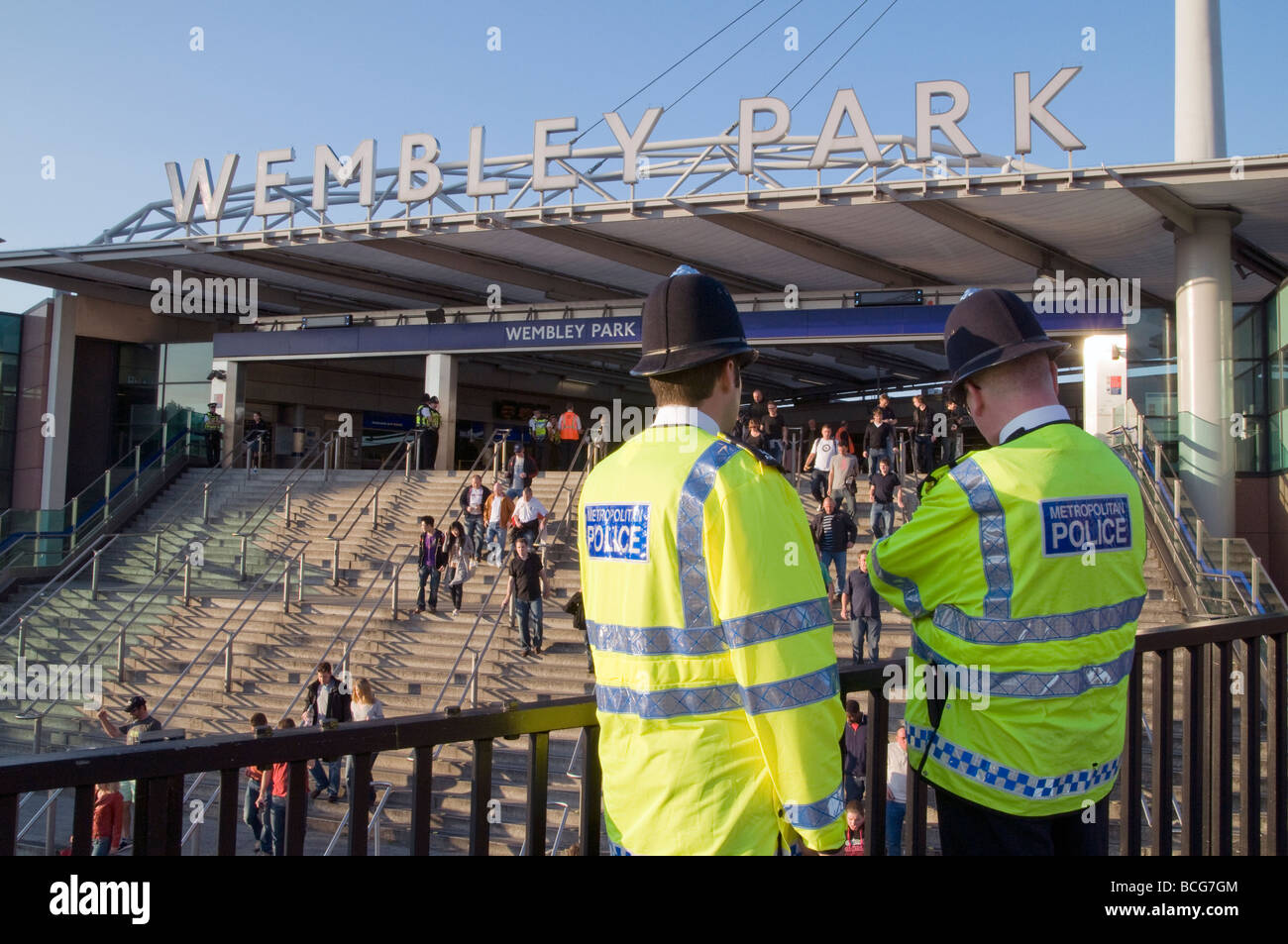 UK-Police in Wembley Park station near stadium before a South Africa 2010 qualifying game in London.Photo © - Stock Image