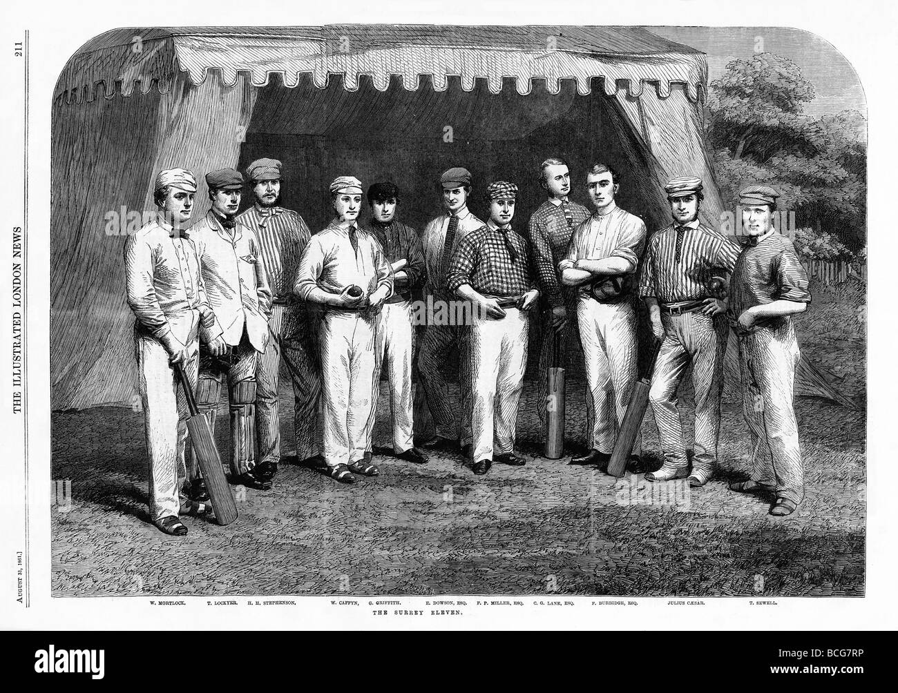 The Surrey Eleven 1861 engraving of the county cricket team with all England cricketer Julius Caesar second from - Stock Image