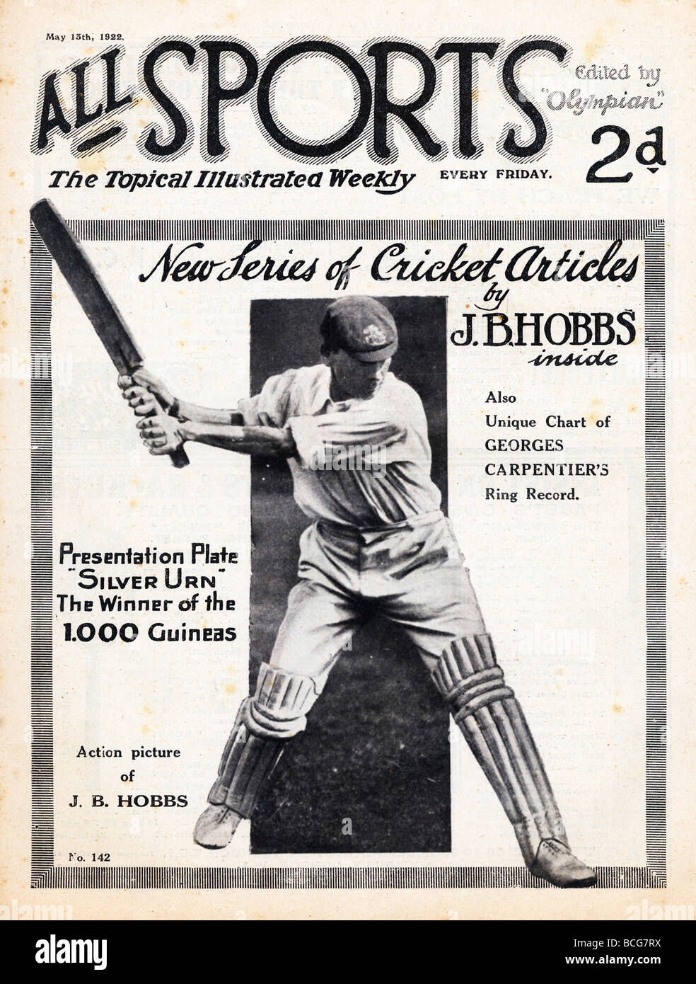 All Sports Jack Hobbs 1922 cover of the general sports magazine with the England and Surrey cricket legend - Stock Image