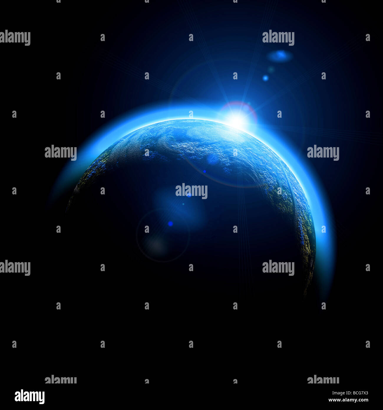 Rising Sun over Earth illustration Copy space for your text - Stock Image