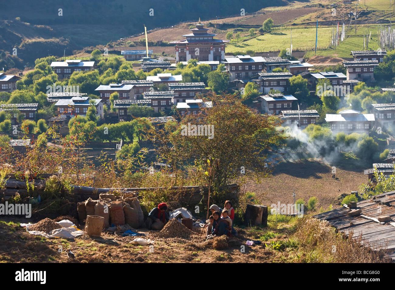 View of village Ura Village Ura valley Bumthang Bhutan - Stock Image