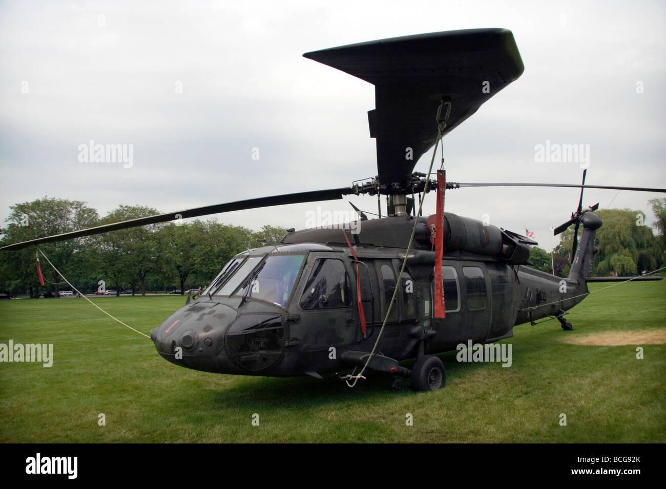 US Army Sikorsky UH-60 Black Hawk. At Cantigny park. Stock Photo