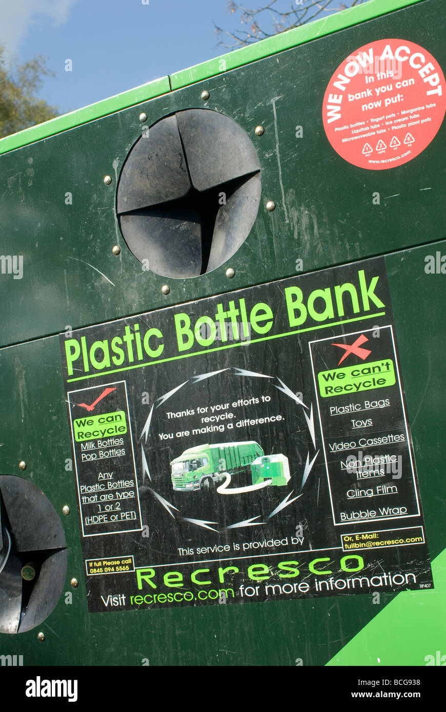 Plastic bottle bank recycling bin in England - Stock Image
