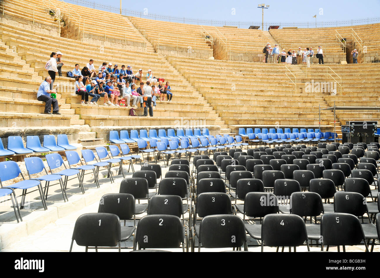 Israel Caesarea The amphitheater on the city s southern shore Currently used for open air performances - Stock Image