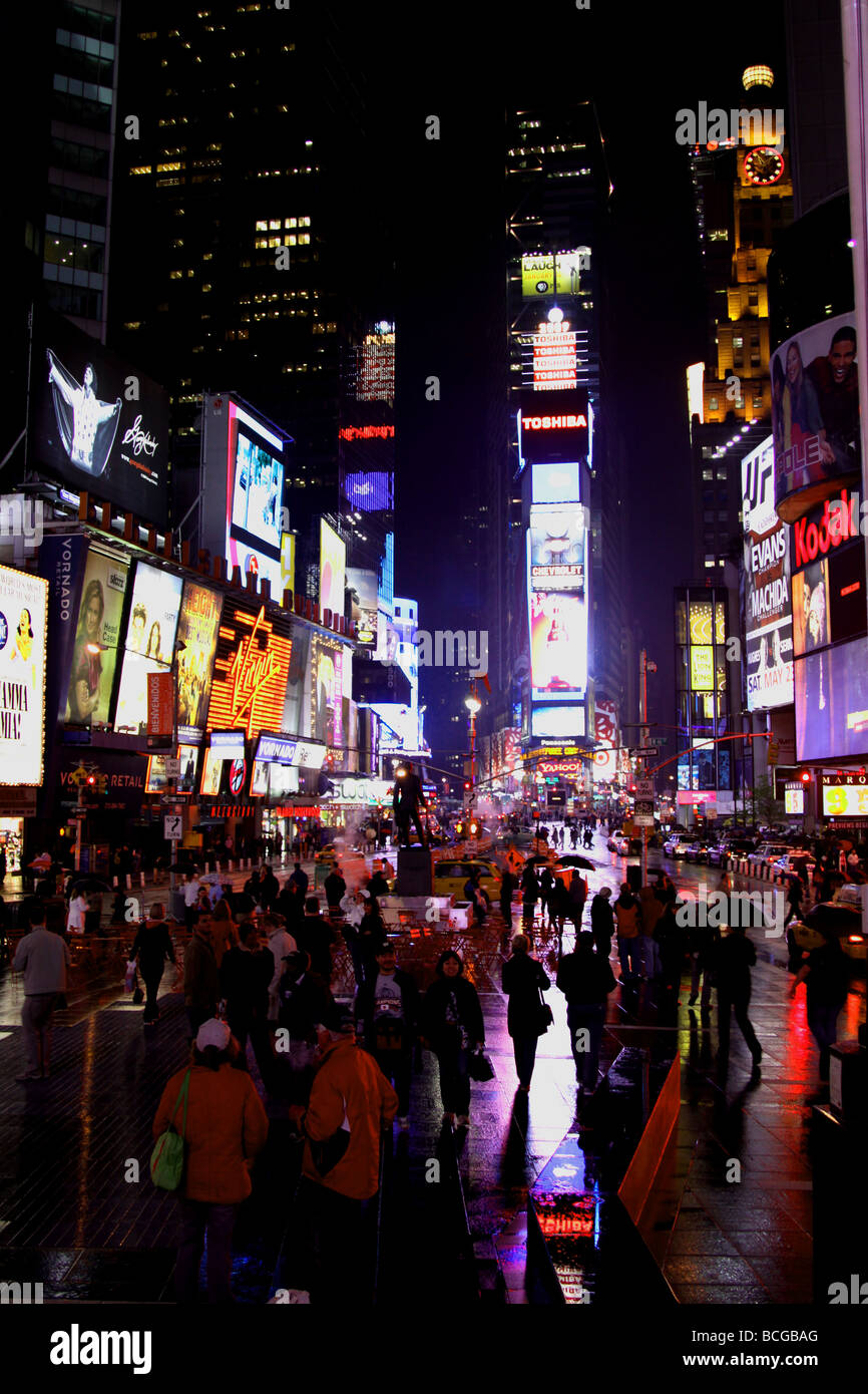 Times Square, New York at night time - Stock Image