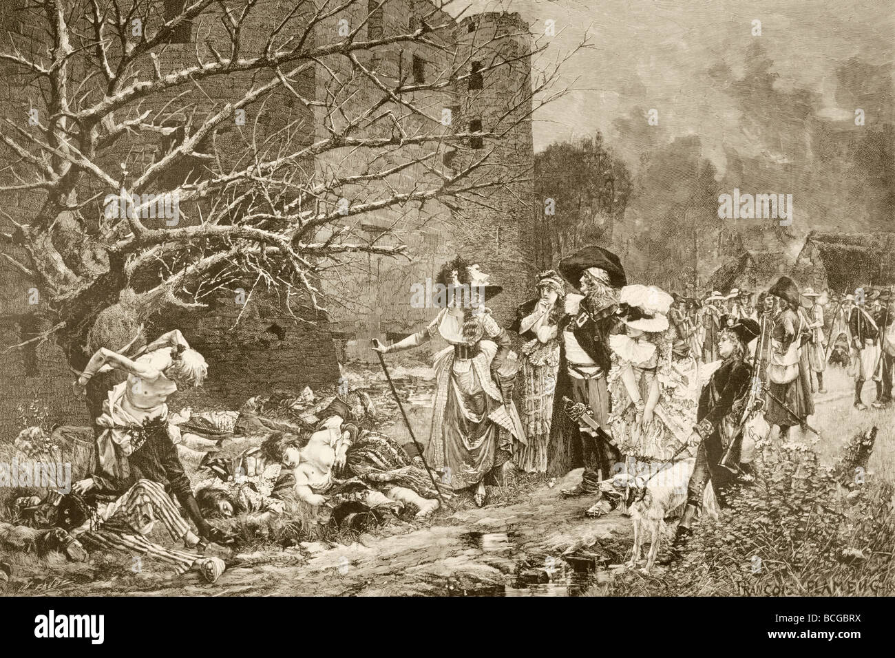 The massacre of Machecoul, France during the French Revolution. - Stock Image