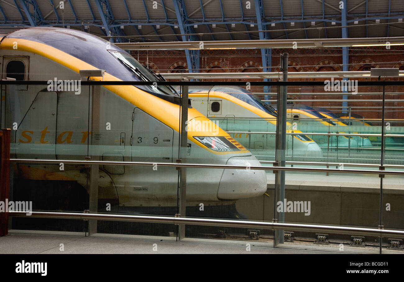 Eurostar trains line up at St Pancras station London to take the Channel Tunnel to France and Belgiun - Stock Image