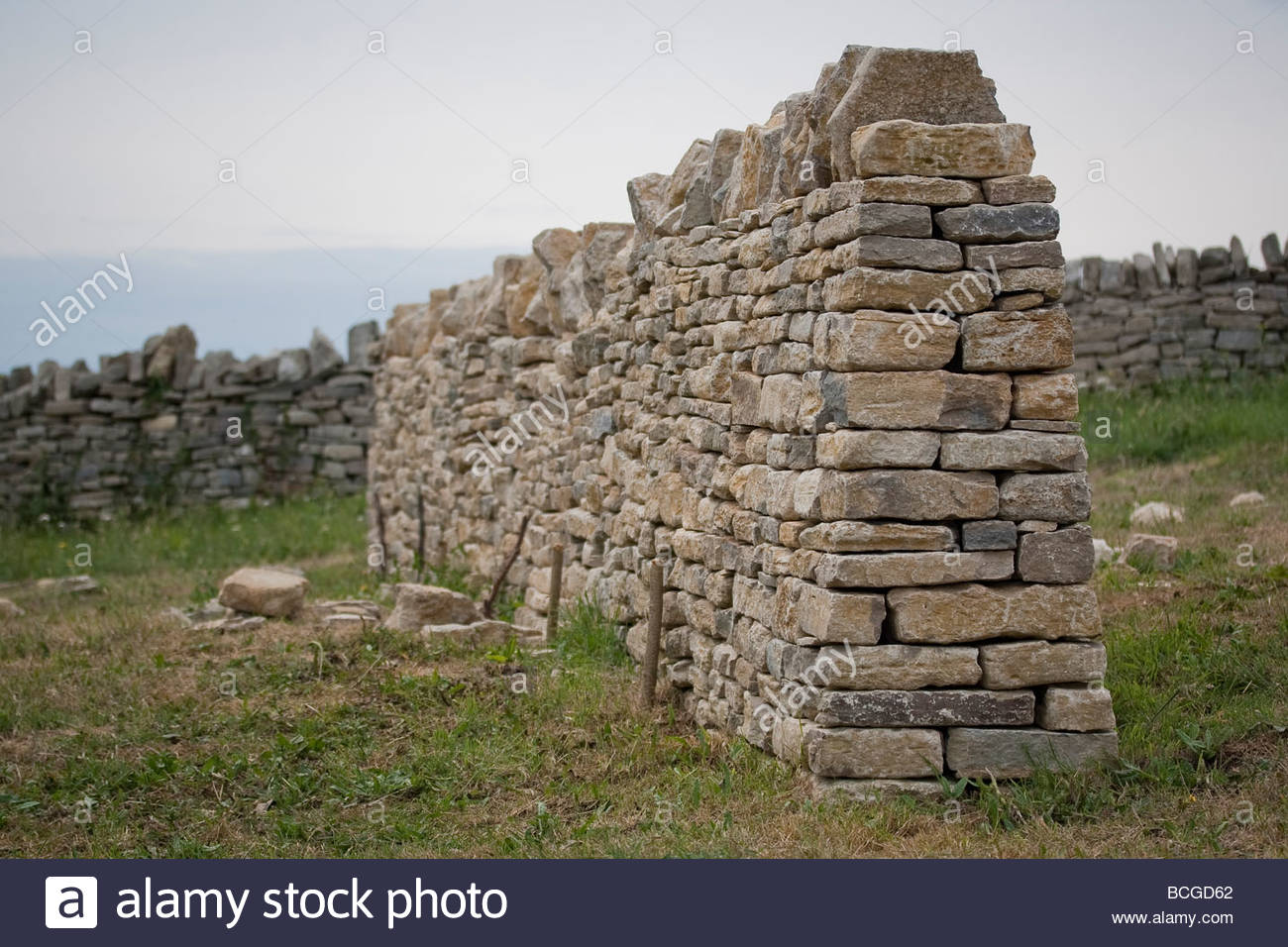 Section of dry stone wall on the Isle of Purbeck, Dorset, UK - Stock Image
