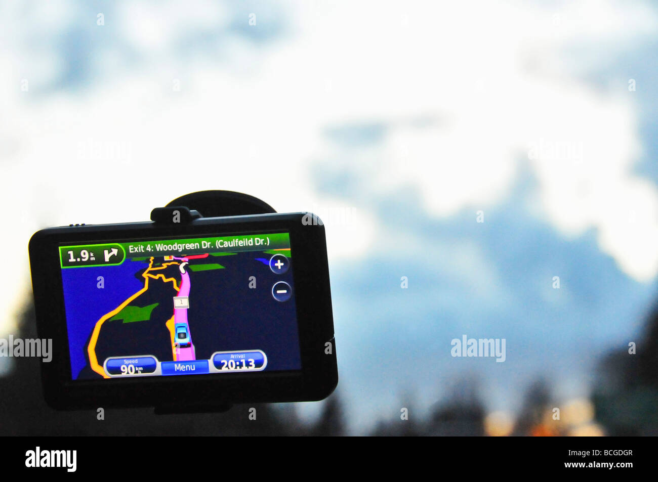GPS navigation device in a car - Stock Image