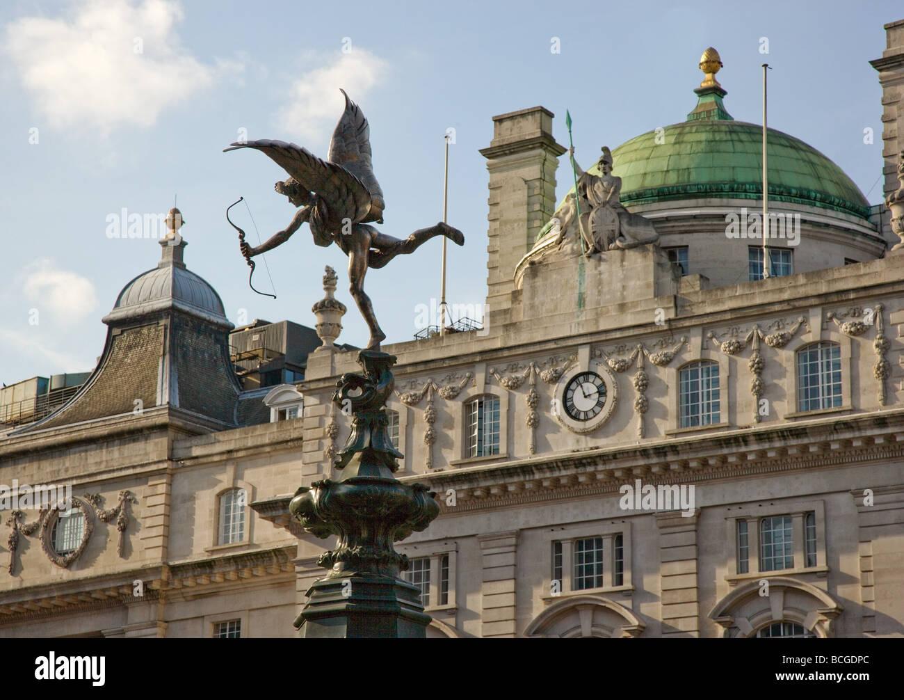 Eros and Britannia in Picaddily circus in London - Stock Image