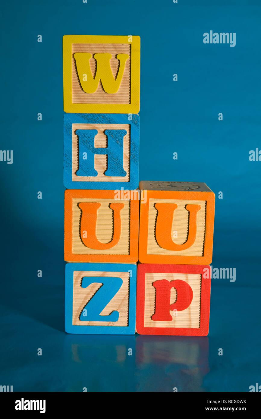 whuz up wuzup whats up whuzup dude man - Stock Image