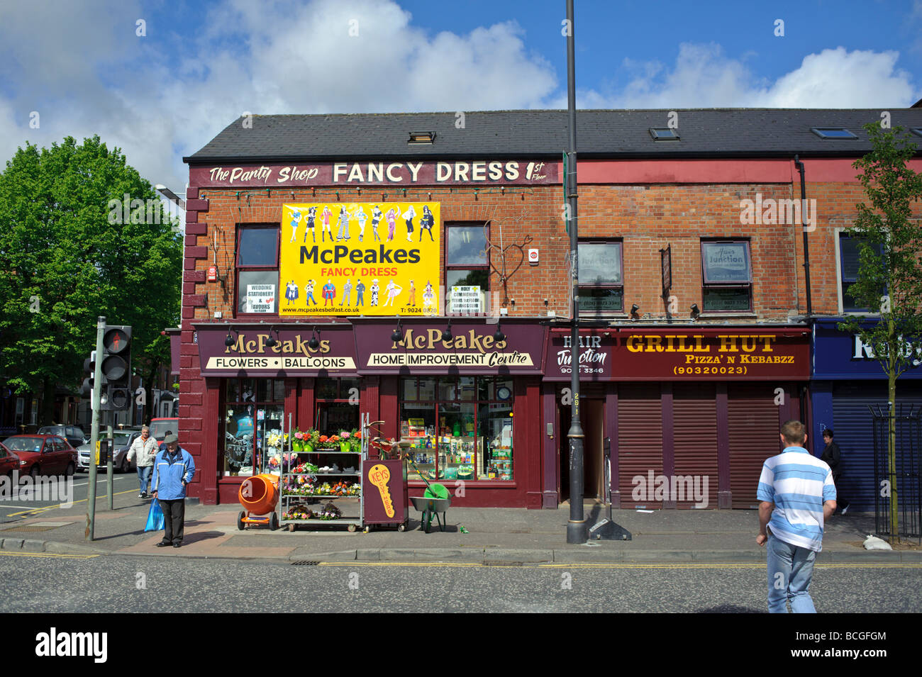 Shankill Road grocery store and business in Belfast Northern Ireland - Stock Image