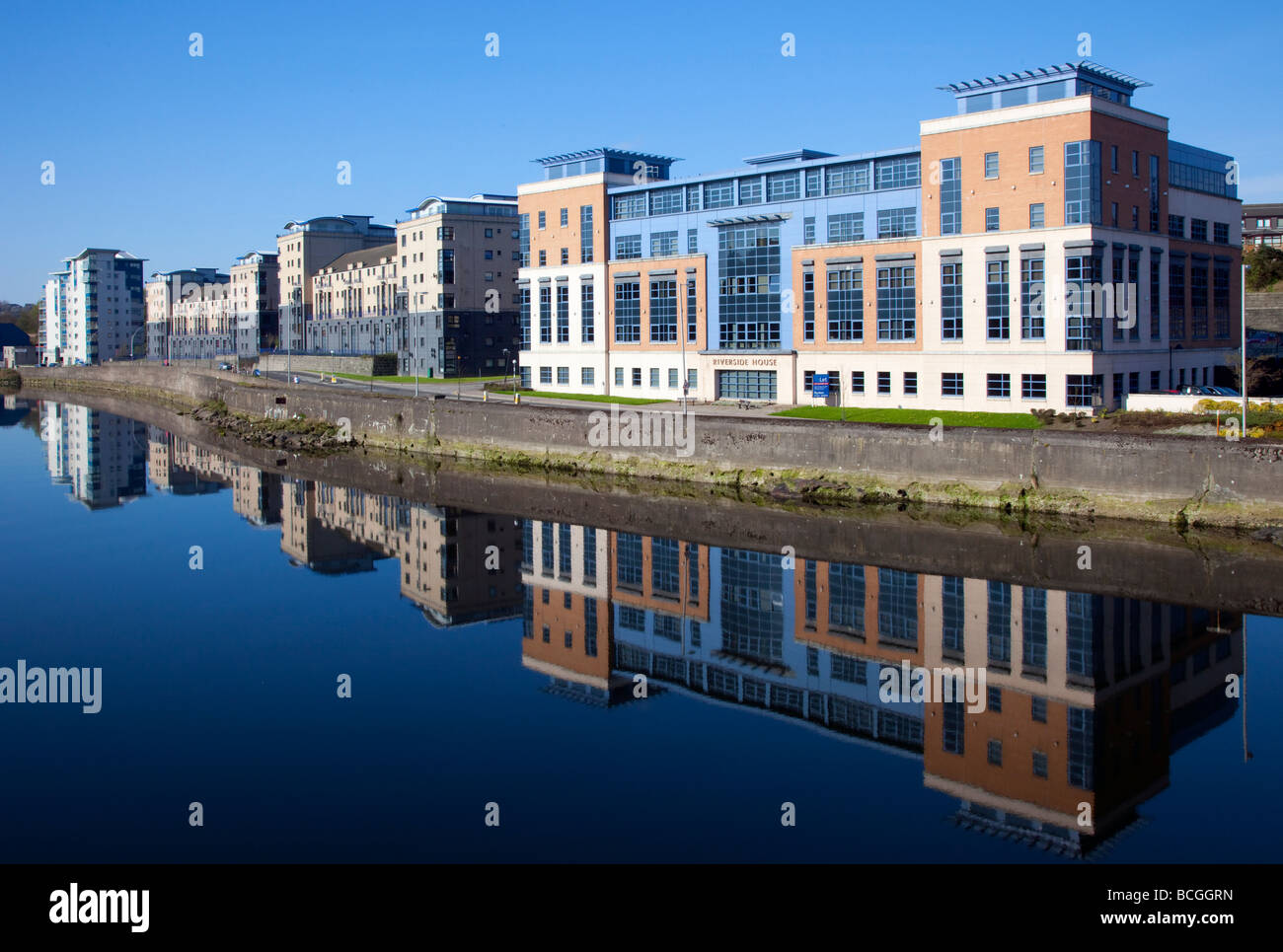 Reflections of Modern Office Buildings, business, architecture, urban development alongside the River Dee, Riverside - Stock Image
