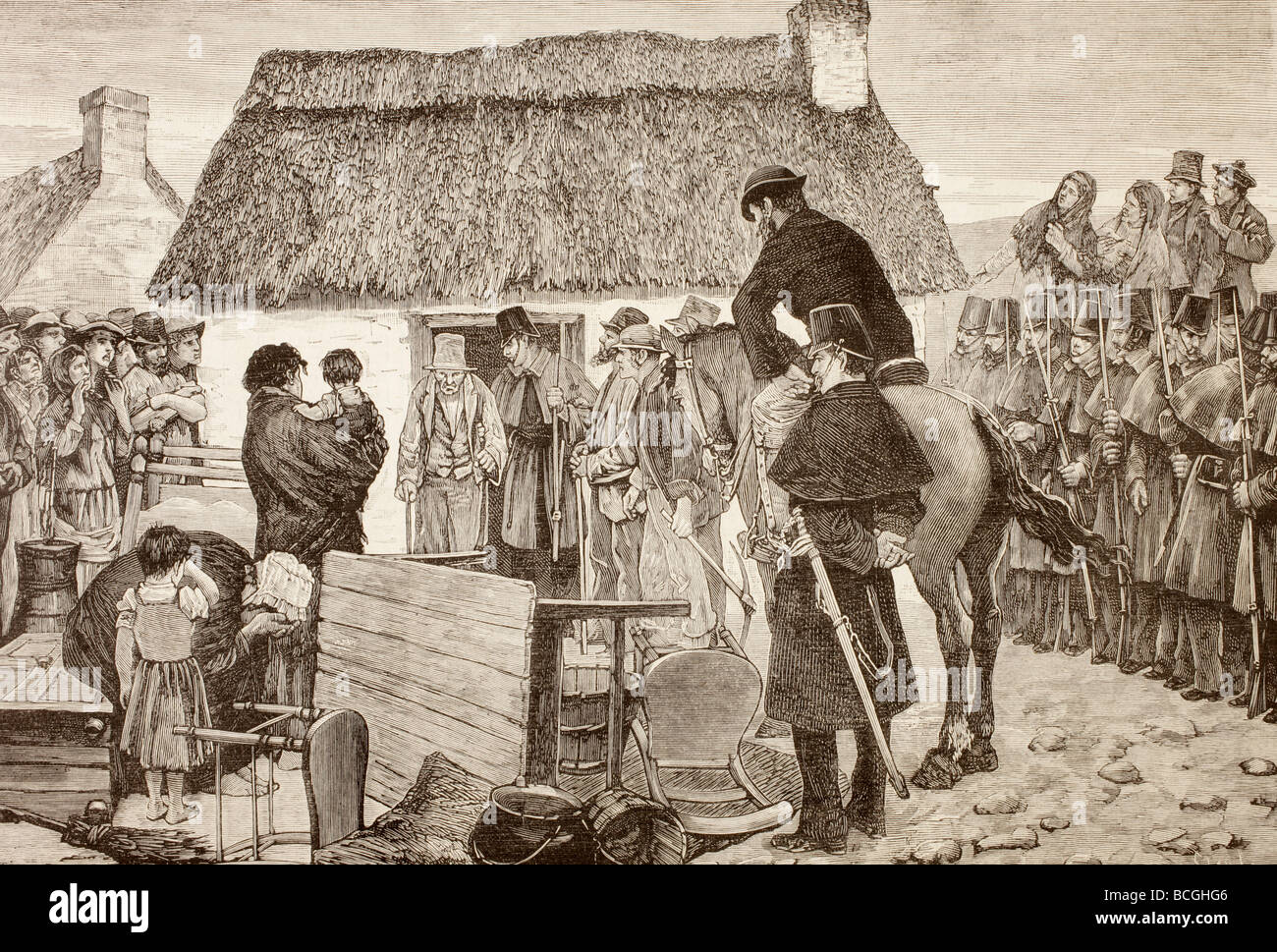 Poor tennants being evicted from their home during the Irish National Land League crisis. - Stock Image