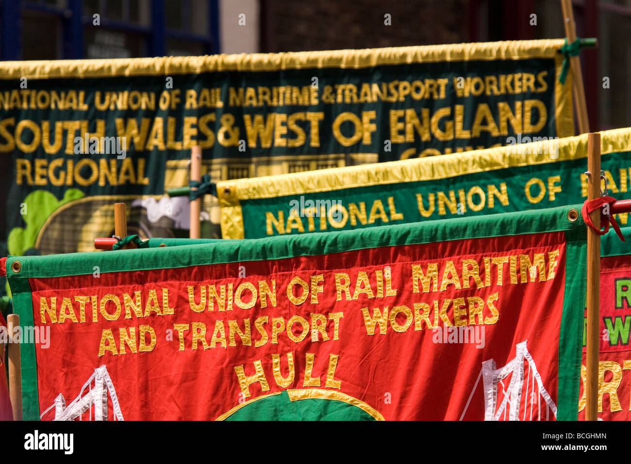 Trade Union banners are displayed during the 2009 Durham Miners' Gala. - Stock Image