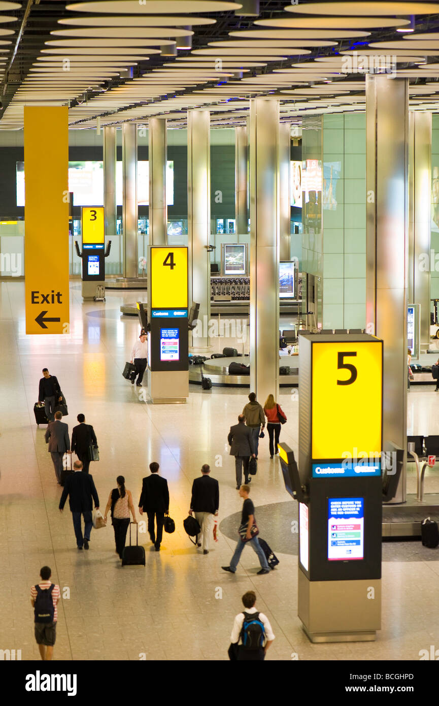 Terminal 5 baggage reclaim hall Heathrow airport London United Kingdom - Stock Image
