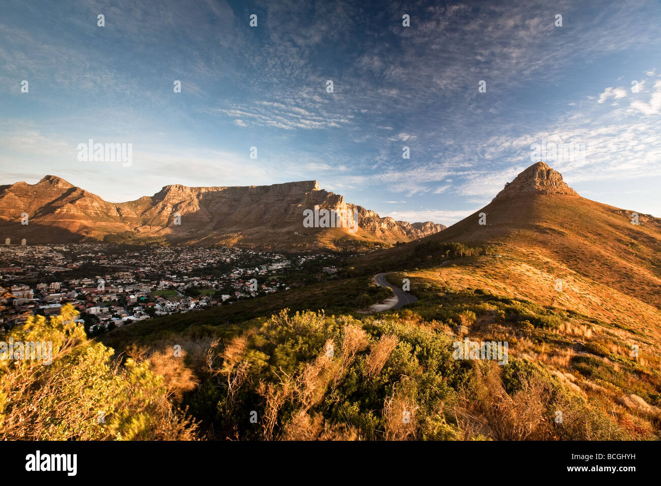 Cape Town Devil's Devils Peak Lion's Lions Head Table Mountain Signal Hill Sunset, South Africa Western - Stock Image