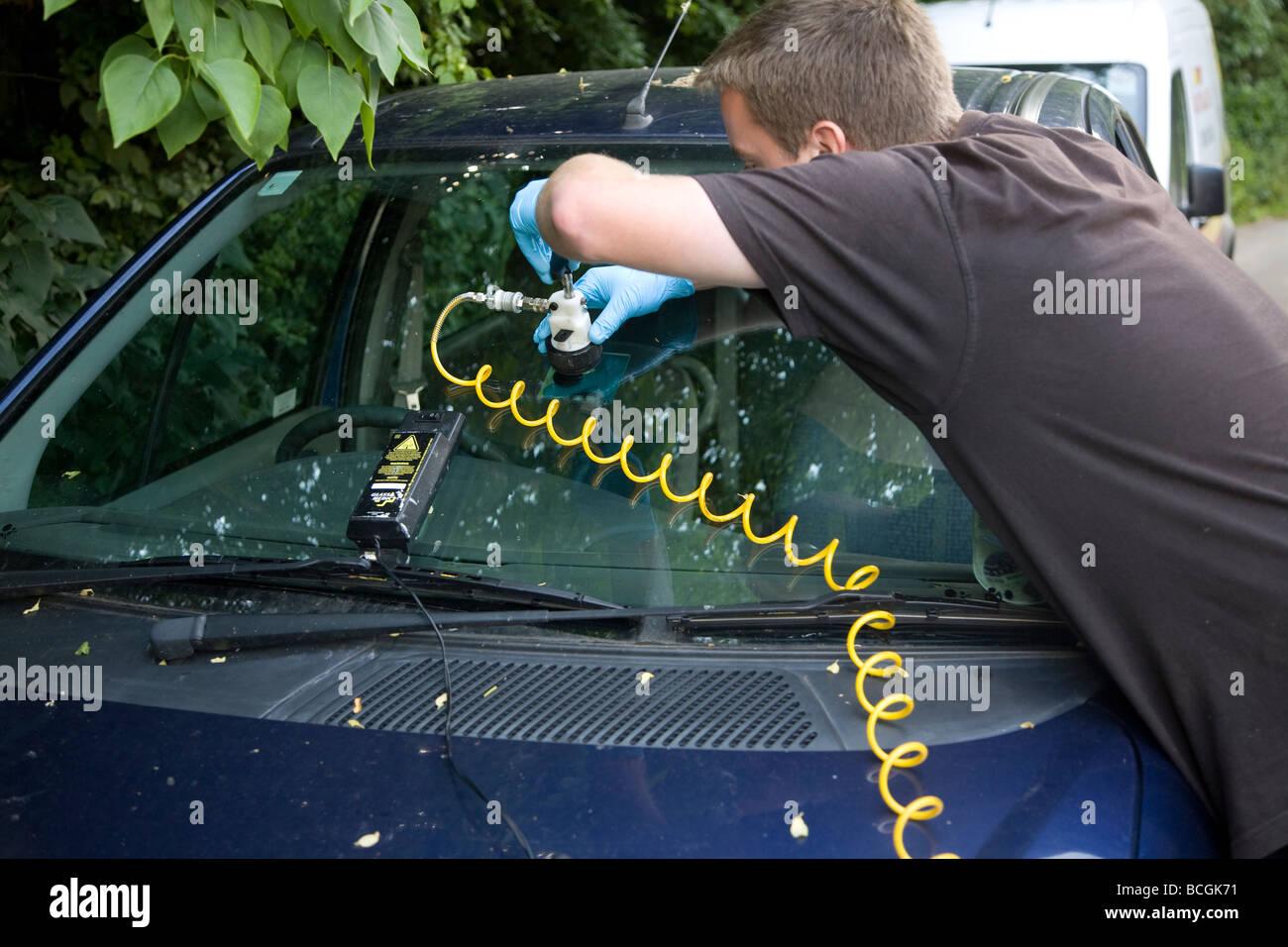 Car Windscreen Repair Stock Photo Alamy