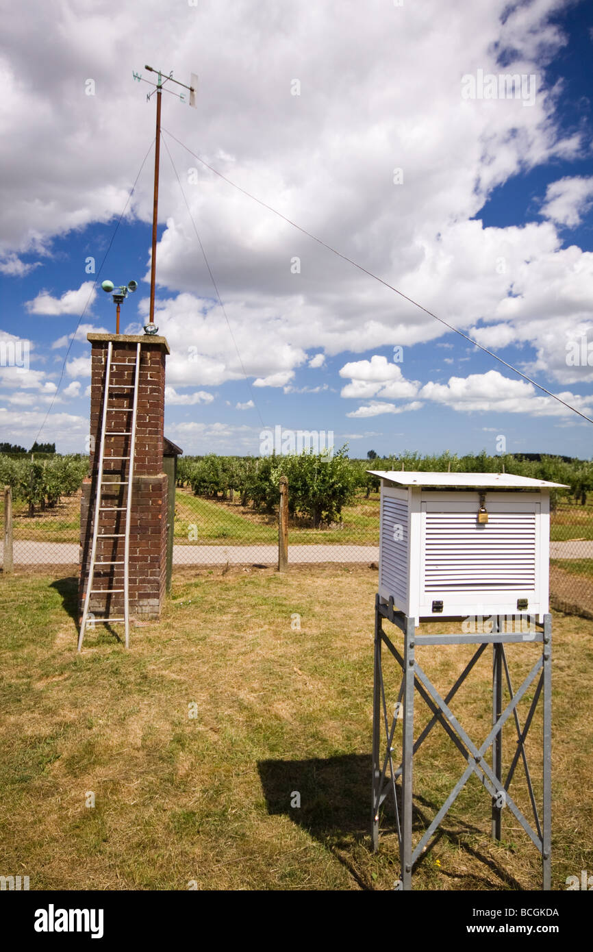 Meteorological Station at Brogdale Kent - site of the highest recorded UK temperature of 38.5C on 10th August 2003 - Stock Image
