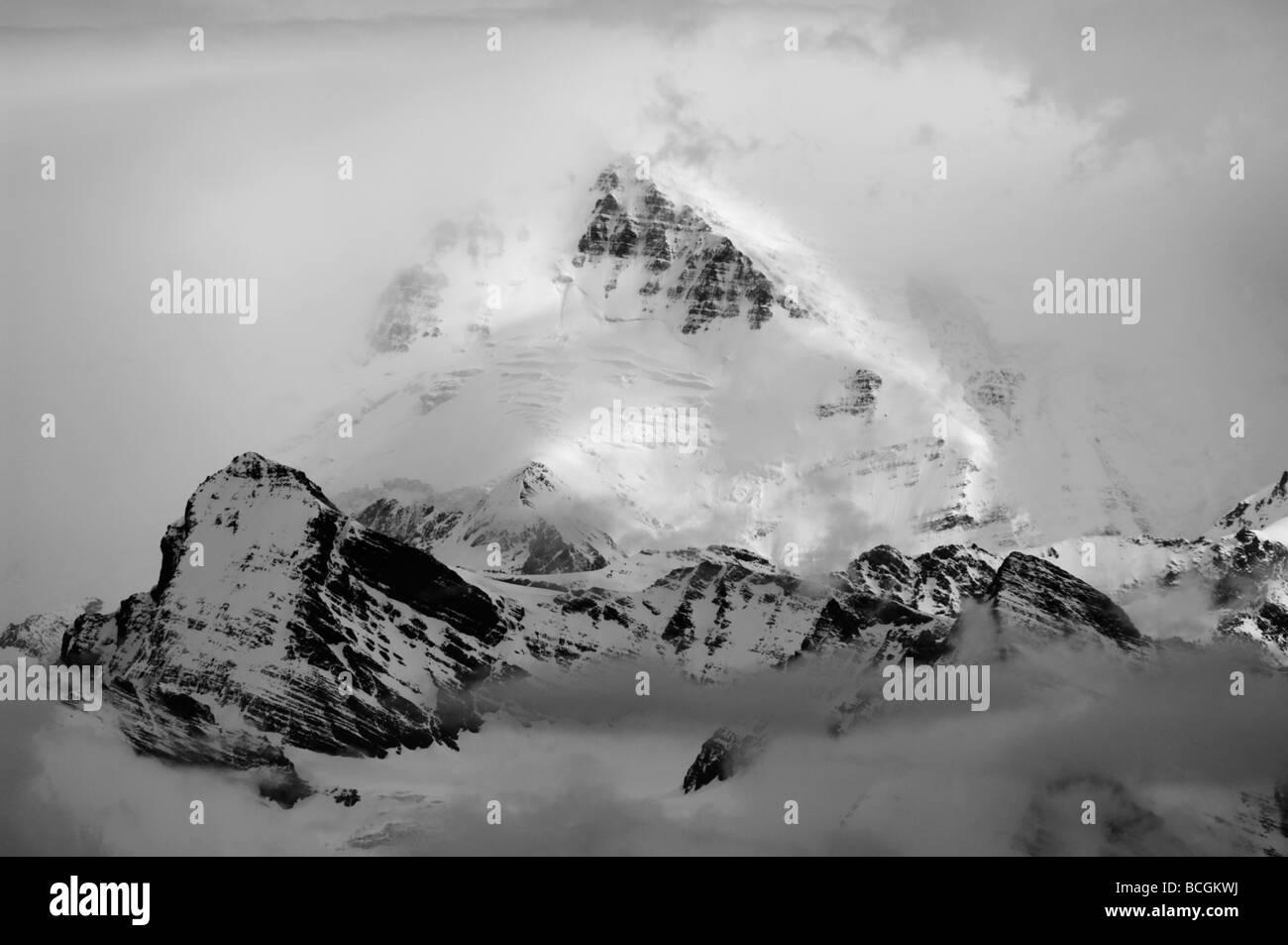 Antarctica, South Georgia Island, Allardyce Range, Misty Mountains, Black and white - Stock Image