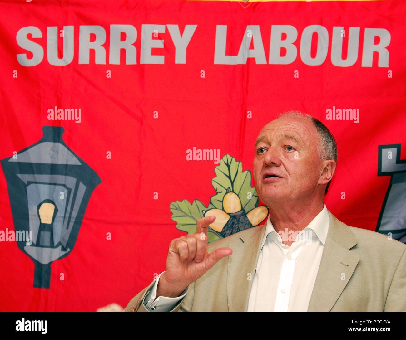 Former GLC Leader and London Mayor Ken Livingstone speaking at South West Surrey Labour Part summer dinner, Headley, - Stock Image