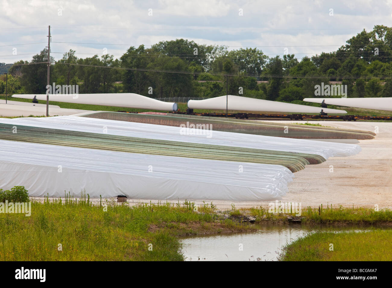 Fort Madison Iowa Wind turbine blades at the Siemens Energy Fort Madison Blade Plant - Stock Image