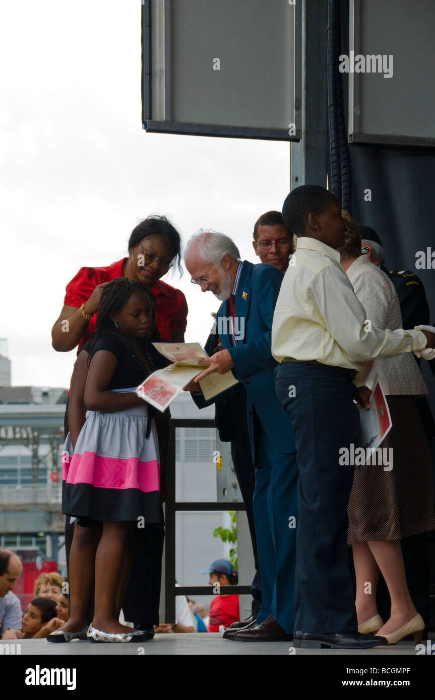 New Canadians receiving their citizenship during Canada day celebrations Montreal canada - Stock Image