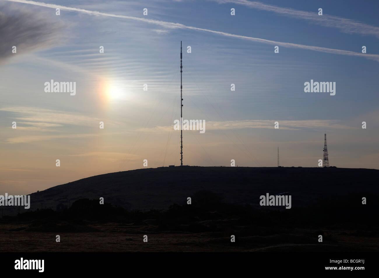 caradon hill tv mast cornwall - Stock Image