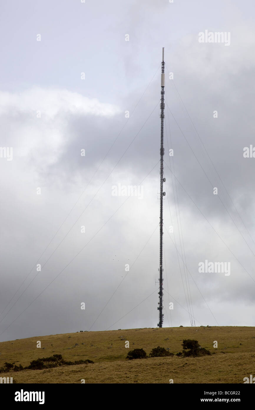 caradon hill tv mast cornwall Stock Photo
